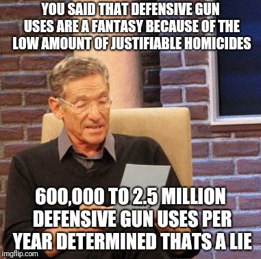 maury defensive gun uses | YOU SAID THAT DEFENSIVE GUN USES ARE A FANTASY BECAUSE OF THE LOW AMOUNT OF JUSTIFIABLE HOMICIDES 600,000 TO 2.5 MILLION DEFENSIVE GUN USES  | image tagged in memes,maury lie detector | made w/ Imgflip meme maker