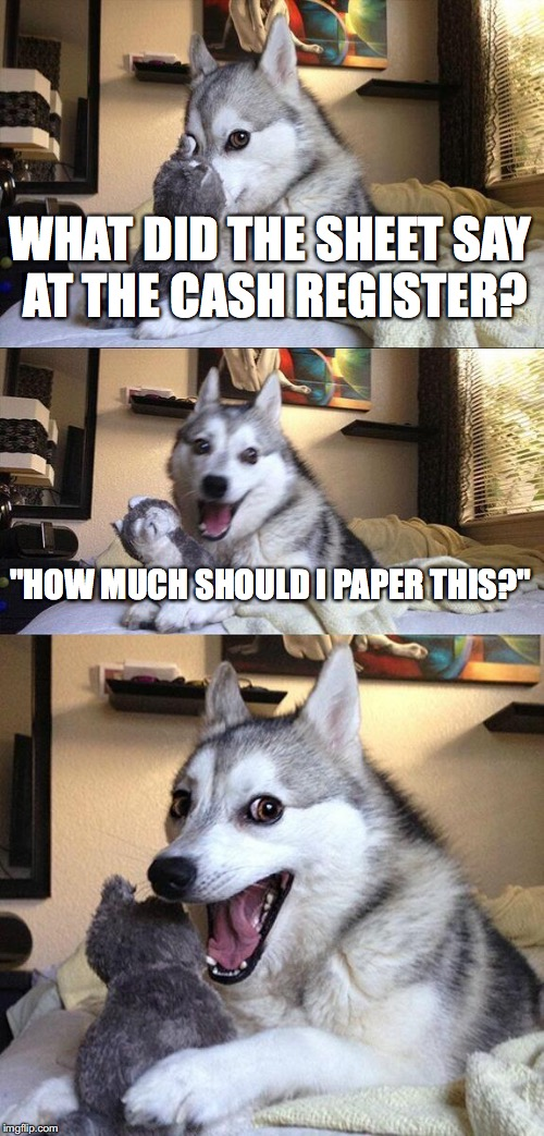 "Bad Pun Dog Meme | WHAT DID THE SHEET SAY AT THE CASH REGISTER? ""HOW MUCH SHOULD I PAPER THIS?"" 
