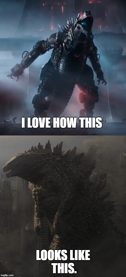 MechaGodzilla from Ready Player One does look like Godzilla 2014 | I LOVE HOW THIS LOOKS LIKE THIS. | image tagged in memes | made w/ Imgflip meme maker