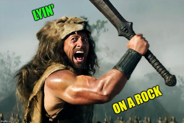 Cat Weekend, May 11-13, a Landon_the_memer, 1forpeace, & JBmemegeek event! | LYIN' ON A ROCK | image tagged in cat weekend,dwayne johnson,lions,the rock,imgflip humor | made w/ Imgflip meme maker