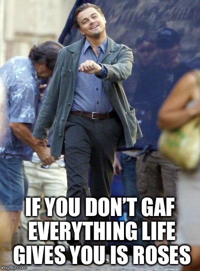 IF YOU DON'T GAF EVERYTHING LIFE GIVES YOU IS ROSES | made w/ Imgflip meme maker