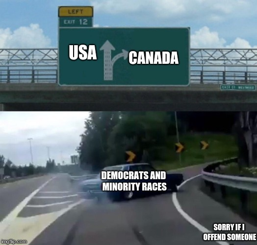 Left Exit 12 Off Ramp Meme | USA CANADA DEMOCRATS AND MINORITY RACES SORRY IF I OFFEND SOMEONE | image tagged in memes,left exit 12 off ramp | made w/ Imgflip meme maker