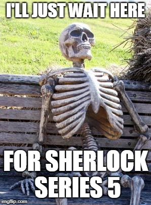 Waiting Skeleton Meme | I'LL JUST WAIT HERE FOR SHERLOCK SERIES 5 | image tagged in memes,waiting skeleton | made w/ Imgflip meme maker