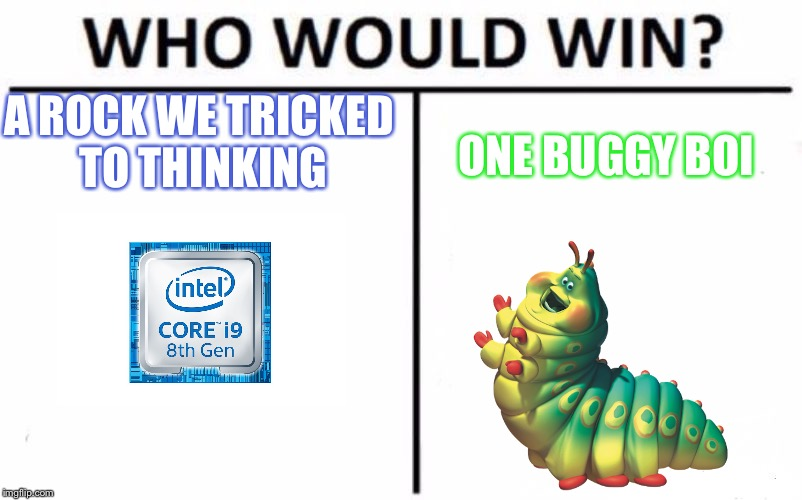 Who Would Win? Meme | A ROCK WE TRICKED TO THINKING ONE BUGGY BOI | image tagged in memes,who would win | made w/ Imgflip meme maker