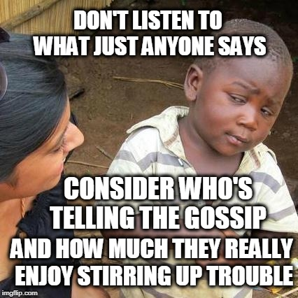 Trouble Maker | DON'T LISTEN TO WHAT JUST ANYONE SAYS AND HOW MUCH THEY REALLY ENJOY STIRRING UP TROUBLE CONSIDER WHO'S TELLING THE GOSSIP | image tagged in memes,third world skeptical kid | made w/ Imgflip meme maker