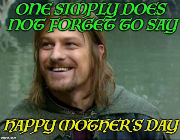 Boromir says | ONE SIMPLY DOES NOT FORGET TO SAY HAPPY MOTHER'S DAY | image tagged in mother's day,boromir | made w/ Imgflip meme maker