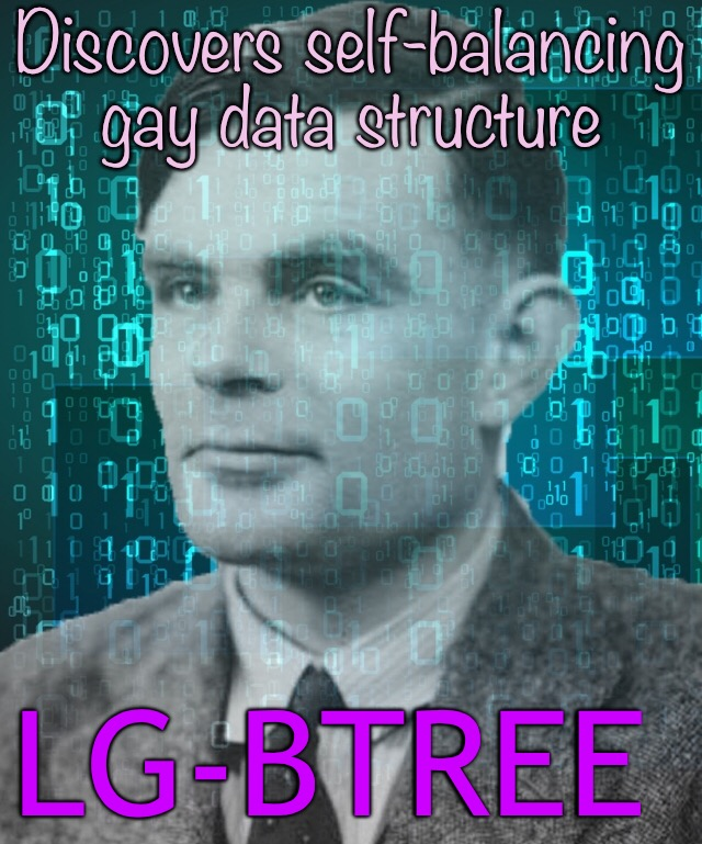 Alan Turing | Discovers self-balancing gay data structure LG-BTREE | image tagged in memes,alan turing,computer science | made w/ Imgflip meme maker
