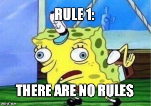 Mocking Spongebob Meme | RULE 1: THERE ARE NO RULES | image tagged in memes,mocking spongebob | made w/ Imgflip meme maker