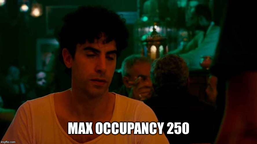 MAX OCCUPANCY 250 | made w/ Imgflip meme maker