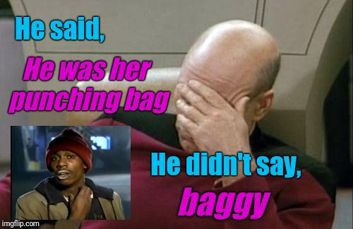 Captain Picard Facepalm Meme | He was her punching bag baggy He said, He didn't say, | image tagged in memes,captain picard facepalm | made w/ Imgflip meme maker