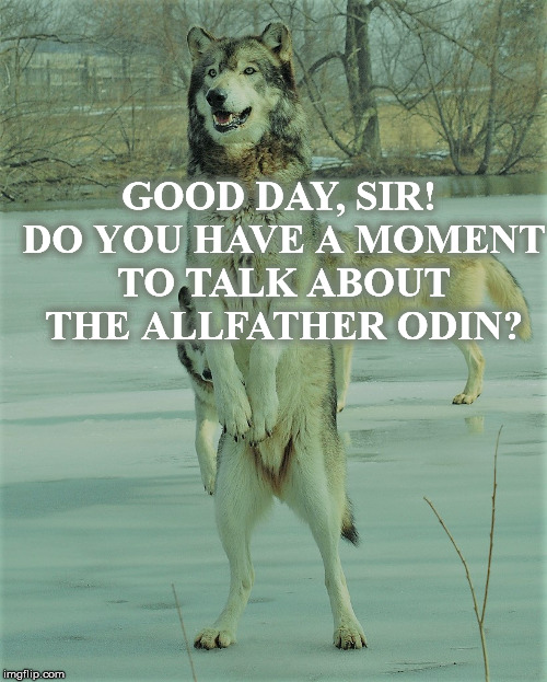 Good day, Sir! Do you have a moment to talk about the Allfather Odin? | GOOD DAY, SIR! DO YOU HAVE A MOMENT TO TALK ABOUT THE ALLFATHER ODIN? | image tagged in wolf,odin,thor,jesus christ | made w/ Imgflip meme maker