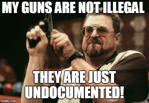 Am I The Only One Around Here Meme | MY GUNS ARE NOT ILLEGAL THEY ARE JUST UNDOCUMENTED! | image tagged in memes,am i the only one around here | made w/ Imgflip meme maker