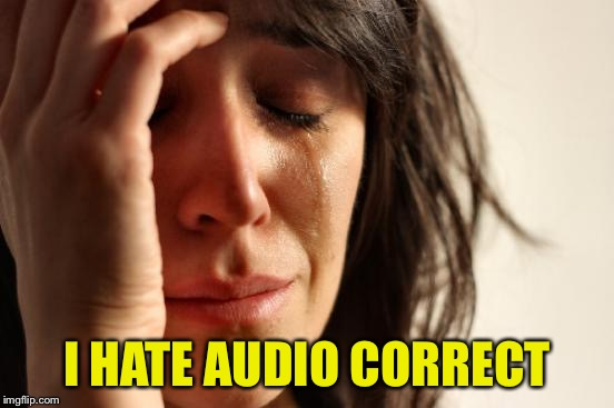 First World Problems Meme | I HATE AUDIO CORRECT | image tagged in memes,first world problems | made w/ Imgflip meme maker