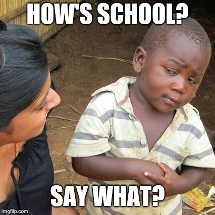 Third World Skeptical Kid Meme | HOW'S SCHOOL? SAY WHAT? | image tagged in memes,third world skeptical kid | made w/ Imgflip meme maker