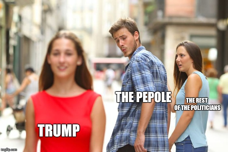 Distracted Boyfriend Meme | TRUMP THE PEPOLE THE REST OF THE POLITICIANS | image tagged in memes,distracted boyfriend | made w/ Imgflip meme maker