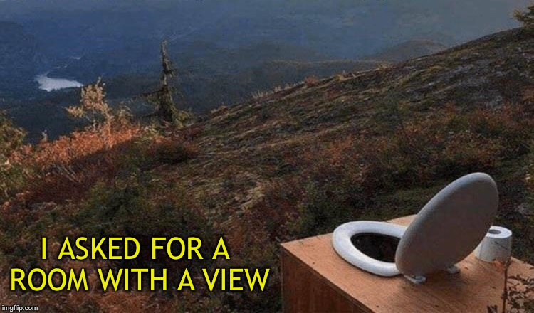I didn't think I needed to be more specific. | I ASKED FOR A ROOM WITH A VIEW | image tagged in view,toilet,memes,funny | made w/ Imgflip meme maker