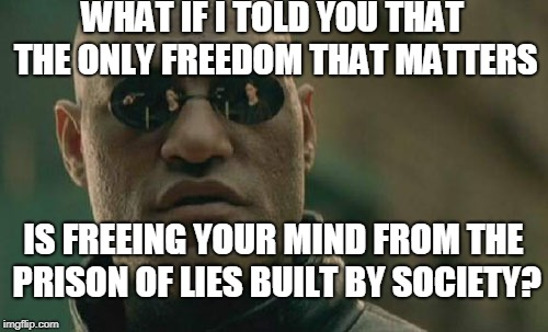 Matrix Morpheus Meme | WHAT IF I TOLD YOU THAT THE ONLY FREEDOM THAT MATTERS IS FREEING YOUR MIND FROM THE PRISON OF LIES BUILT BY SOCIETY? | image tagged in memes,matrix morpheus | made w/ Imgflip meme maker