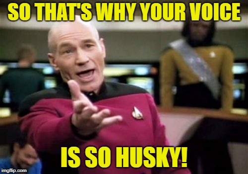 Picard Wtf Meme | SO THAT'S WHY YOUR VOICE IS SO HUSKY! | image tagged in memes,picard wtf | made w/ Imgflip meme maker