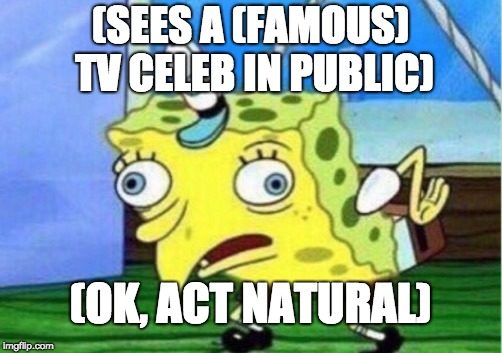 Seeing a (Famous) TV Celeb Like . . . | (SEES A (FAMOUS) TV CELEB IN PUBLIC) (OK, ACT NATURAL) | image tagged in memes,mocking spongebob,celebrity,public | made w/ Imgflip meme maker