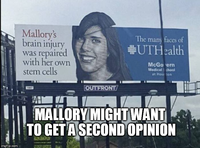 Mallory's brain injury | MALLORY MIGHT WANT TO GET A SECOND OPINION | image tagged in mallory,signs/billboards,second opinion | made w/ Imgflip meme maker