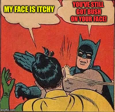 Batman Slapping Robin Meme | MY FACE IS ITCHY YOU'VE STILL GOT BUSH ON YOUR FACE! | image tagged in memes,batman slapping robin | made w/ Imgflip meme maker