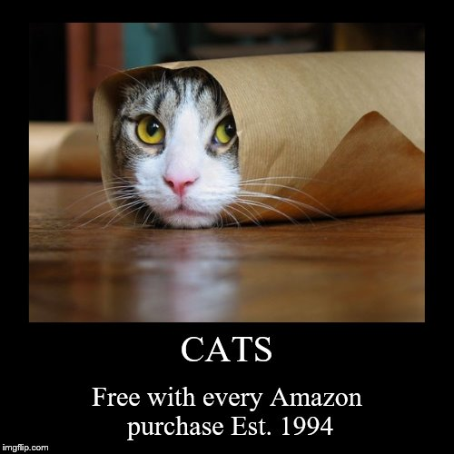 CATS | Free with every Amazon purchase Est. 1994 | image tagged in funny,demotivationals | made w/ Imgflip demotivational maker