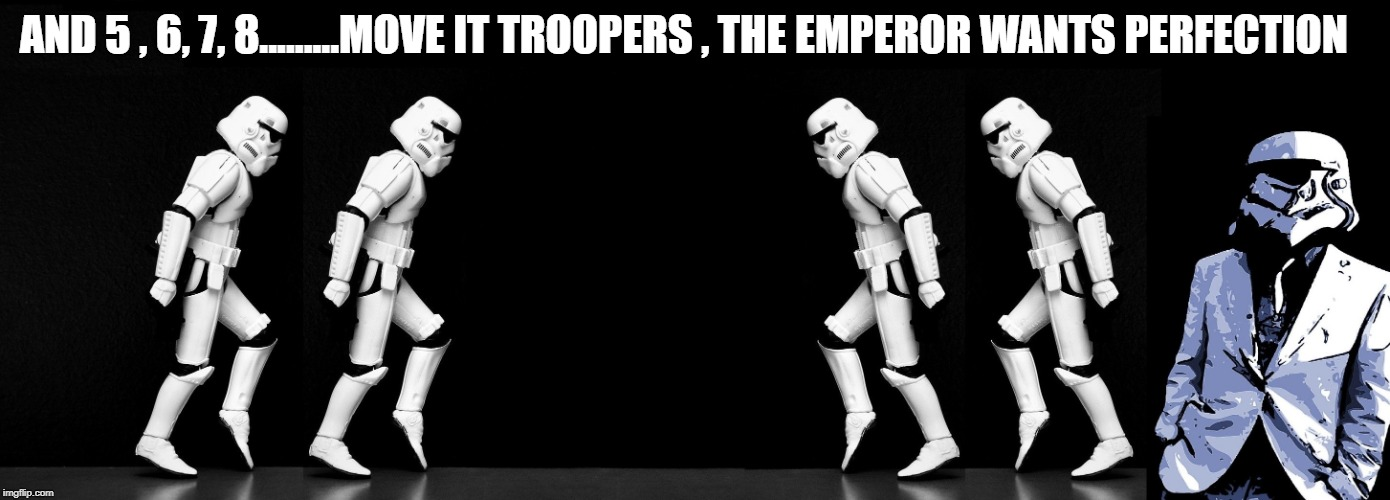 AND 5 , 6, 7, 8.........MOVE IT TROOPERS , THE EMPEROR WANTS PERFECTION | image tagged in star wars,funny,stormtroopers | made w/ Imgflip meme maker