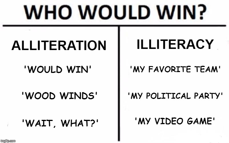 The Right Side Rules | ALLITERATION ILLITERACY 'WOULD WIN' 'MY FAVORITE TEAM' 'WOOD WINDS' 'MY POLITICAL PARTY' 'WAIT, WHAT?' 'MY VIDEO GAME' | image tagged in memes,who would win | made w/ Imgflip meme maker
