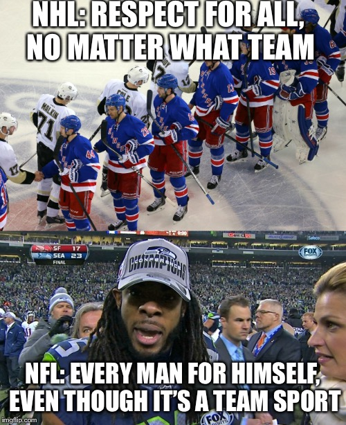 NHL: RESPECT FOR ALL, NO MATTER WHAT TEAM NFL: EVERY MAN FOR HIMSELF, EVEN THOUGH IT'S A TEAM SPORT | image tagged in nfl,nhl | made w/ Imgflip meme maker