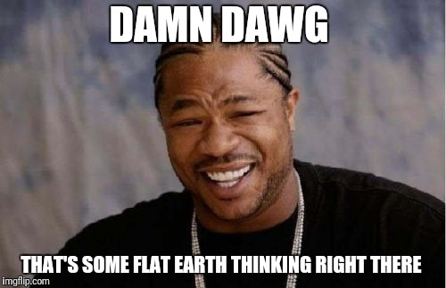 Yo Dawg Heard You Meme | DAMN DAWG THAT'S SOME FLAT EARTH THINKING RIGHT THERE | image tagged in memes,yo dawg heard you | made w/ Imgflip meme maker