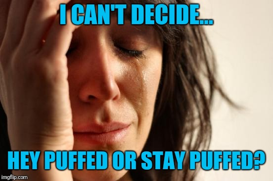 First World Problems Meme | I CAN'T DECIDE... HEY PUFFED OR STAY PUFFED? | image tagged in memes,first world problems | made w/ Imgflip meme maker
