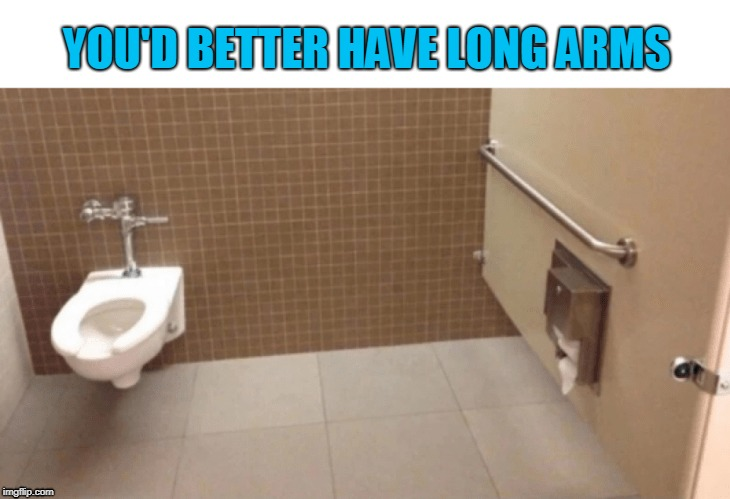 YOU'D BETTER HAVE LONG ARMS | image tagged in meme,toilet fail,wtf,bathroom,gross,i found the picture on the internet but i added words duh | made w/ Imgflip meme maker