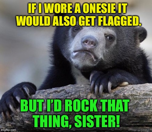 IF I WORE A ONESIE IT WOULD ALSO GET FLAGGED. BUT I'D ROCK THAT THING, SISTER! | made w/ Imgflip meme maker