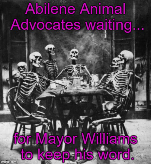 Skeletons  | Abilene Animal Advocates waiting... for Mayor Williams to keep his word. | image tagged in skeletons | made w/ Imgflip meme maker