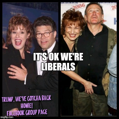 IT'S OK WE'RE LIBERALS | image tagged in it's ok we're democrats,democrats,me too,al franken,the view,joy behar | made w/ Imgflip meme maker