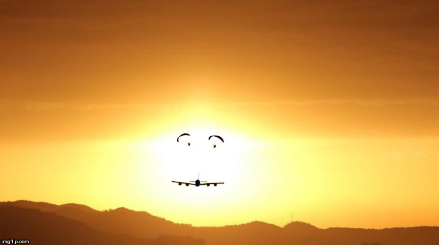 image tagged in sun,plane,airplane,smile,smiley,face | made w/ Imgflip meme maker