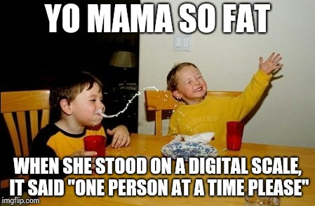 "Yo Mamas So Fat Meme | YO MAMA SO FAT WHEN SHE STOOD ON A DIGITAL SCALE, IT SAID ""ONE PERSON AT A TIME PLEASE"" 