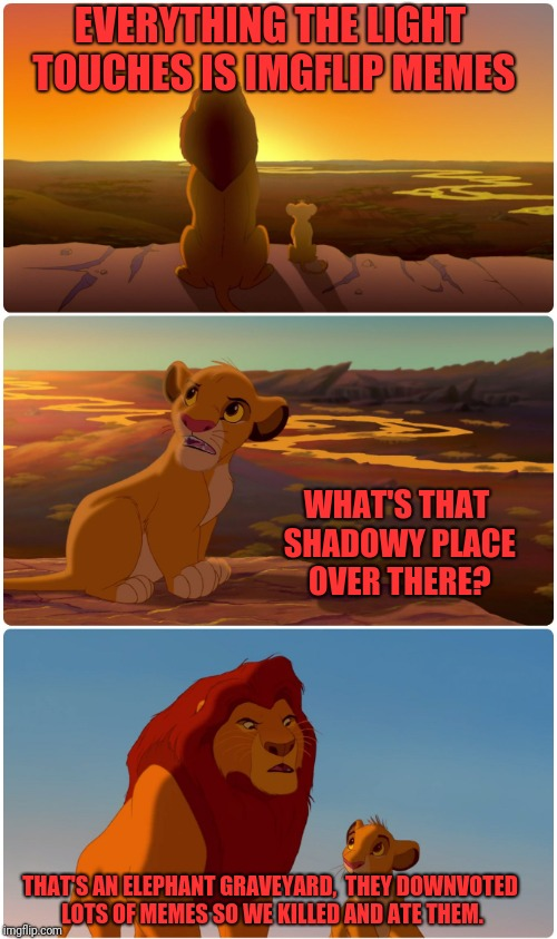 Shadowy Place Lion King | EVERYTHING THE LIGHT TOUCHES IS IMGFLIP MEMES THAT'S AN ELEPHANT GRAVEYARD,  THEY DOWNVOTED LOTS OF MEMES SO WE KILLED AND ATE THEM. WHAT'S  | image tagged in shadowy place lion king | made w/ Imgflip meme maker