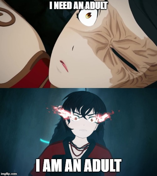 I need an Adult | I NEED AN ADULT I AM AN ADULT | image tagged in cinder,raven,rwby | made w/ Imgflip meme maker