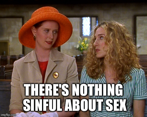 THERE'S NOTHING SINFUL ABOUT SEX | image tagged in sin | made w/ Imgflip meme maker