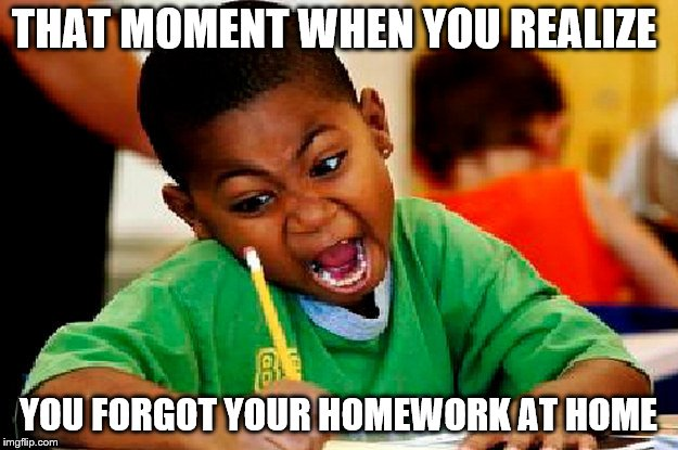 homework | THAT MOMENT WHEN YOU REALIZE YOU FORGOT YOUR HOMEWORK AT HOME | image tagged in homework | made w/ Imgflip meme maker