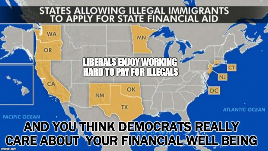 PAY MY WAY | LIBERALS ENJOY WORKING HARD TO PAY FOR ILLEGALS AND YOU THINK DEMOCRATS REALLY CARE ABOUT  YOUR FINANCIAL WELL BEING | image tagged in liberal hypocrisy,over taxed | made w/ Imgflip meme maker