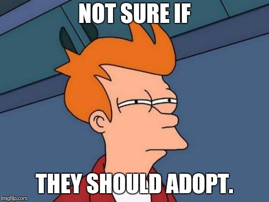Futurama Fry Meme | NOT SURE IF THEY SHOULD ADOPT. | image tagged in memes,futurama fry | made w/ Imgflip meme maker