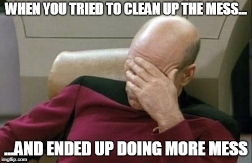 Captain Picard Facepalm Meme | WHEN YOU TRIED TO CLEAN UP THE MESS... ...AND ENDED UP DOING MORE MESS | image tagged in memes,captain picard facepalm | made w/ Imgflip meme maker