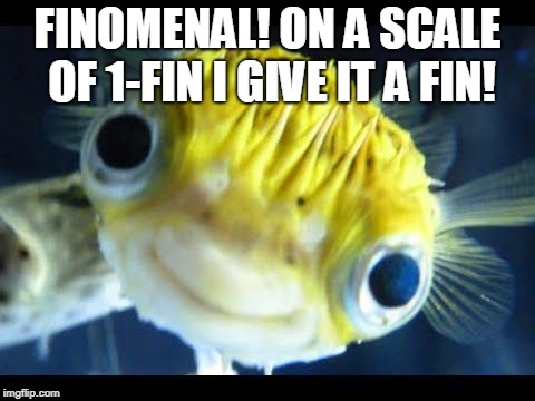 Fish | FINOMENAL! ON A SCALE OF 1-FIN I GIVE IT A FIN! | image tagged in fish | made w/ Imgflip meme maker