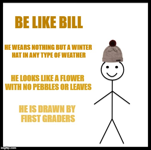 Be Like Bill | BE LIKE BILL HE WEARS NOTHING BUT A WINTER HAT IN ANY TYPE OF WEATHER HE LOOKS LIKE A FLOWER WITH NO PEBBLES OR LEAVES HE IS DRAWN BY FIRST  | image tagged in memes,be like bill,funny | made w/ Imgflip meme maker