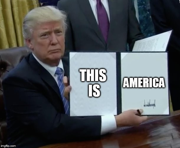 Trump Bill Signing Meme | THIS IS AMERICA | image tagged in memes,trump bill signing | made w/ Imgflip meme maker