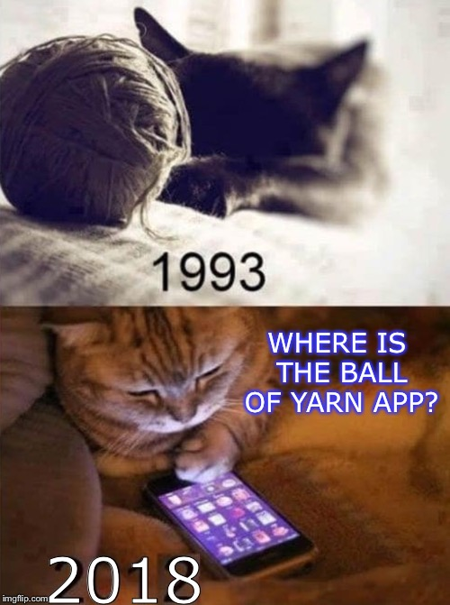 Cat toys 25 yrs. later.   (One last one for Cat Weekend!) | WHERE IS THE BALL OF YARN APP? 2018 | image tagged in funny,cat,memes,cat weekend,funny memes | made w/ Imgflip meme maker