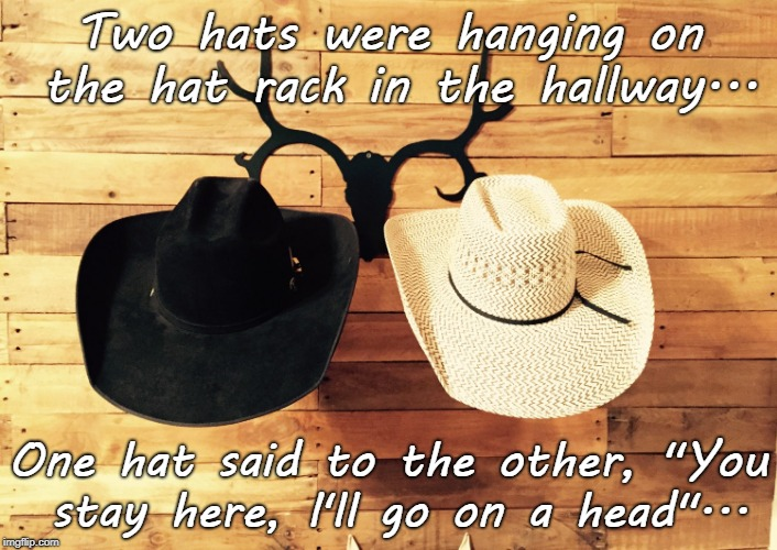 "Bad pun... | Two hats were hanging on the hat rack in the hallway... One hat said to the other, ""You stay here, I'll go on a head""... 