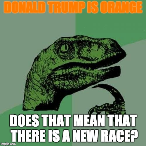 Philosoraptor Meme | DONALD TRUMP IS ORANGE DOES THAT MEAN THAT THERE IS A NEW RACE? | image tagged in memes,philosoraptor | made w/ Imgflip meme maker